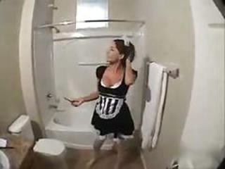 Hot maid fucked in the bathroom