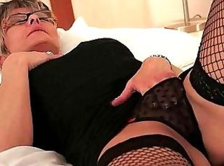 Glasses Granny Lingerie Masturbating Stockings