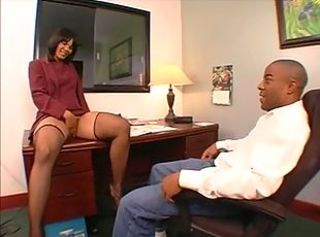 Ebony Masturbating  Office Pornstar Stockings