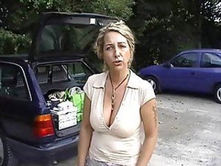 Big Tits German MILF Natural Outdoor Public