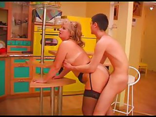 Doggystyle Kitchen Mature Mom Old and Young Russian Stockings