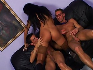 Pornstar Riding Stockings Teen Threesome