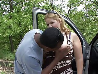 Amateur  Car Interracial Outdoor Wife