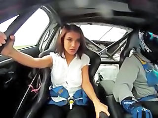 Model in Racing Car