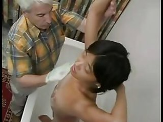 Asian Daddy Old and Young Showers Teen
