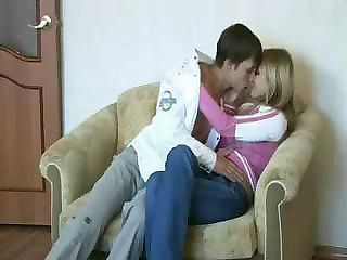Young Blonde Teen Fuck On Sofa