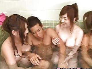 Four Busty Asian Girls In Team Fuck