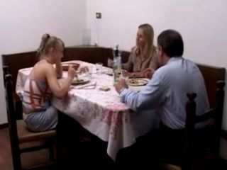 Daddy Daughter Family Kitchen Mom Old and Young Threesome