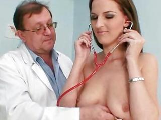 Smoking Sexy Brunette Honey Outlandish Gyno Exam