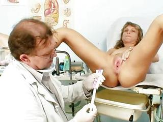 Elder statesman Vladimira Receives Her Wet Crack Meetly Gyno Examined By Kinky Gyno Pollute