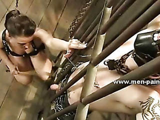 Cock Teached How To Bondage Lessons By Experienced Mistress Dressed In Leather With Malefic Eyes