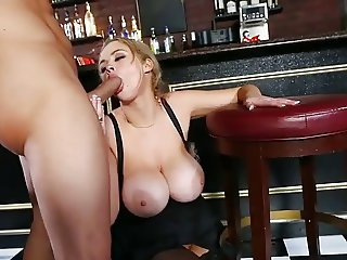 Bartender Fucks Gorgeous Blonde With Huge Tits