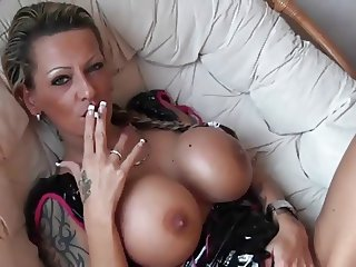 Amazing Big Tits  Silicone Tits Smoking Tattoo
