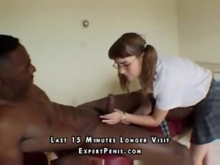 Cute Glasses Handjob Interracial Pigtail Teen