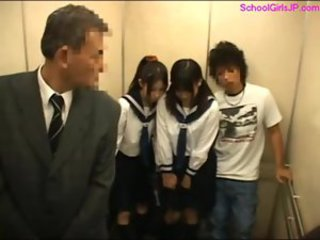 2 schoolgirls getting their pussies fingered by guy while st