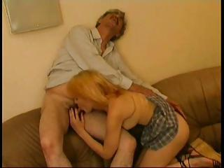 She Gives The Old Dude A Hot Blowjob