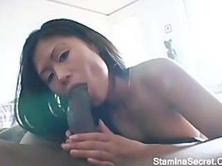 Asian Babe  Blowjob Interracial