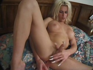 Blonde TS Strokes and Toys Herself