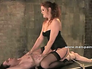 Janitor Caught By Brunette Awesome Mistress In Leather Boots And Sexy Lingerie And Tormented