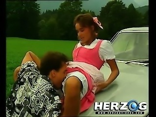 Car Licking Outdoor Teen Vintage