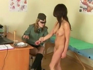 Tough army medical check for tiny brunette