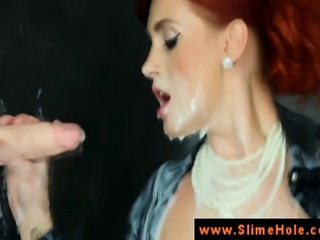 Redhead ginger at gloryhole sprayed with cumshot in hd