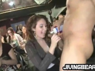 Drunk MILFs suck a big shaved cock