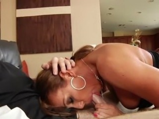 British MILF Feel gets fucked on a leather seat