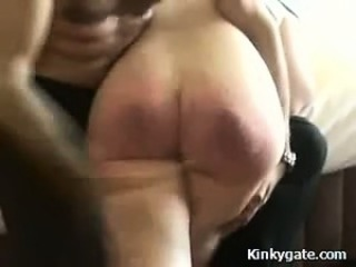 Spanking my slutty Girlfriend a red soar ass