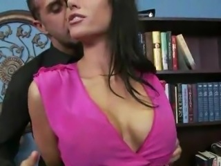 Time for sex with boss and his hot secretary in nature's garb