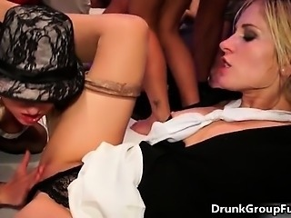 Nasty blonde and brunette sluts get