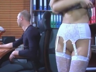 Raunchy secretary seduces her chief giving him head and opening up her trunk