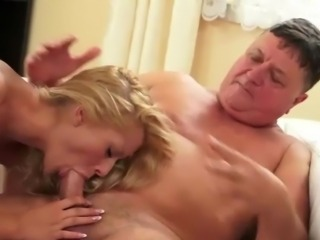 Innocent female making love aged guy