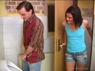Debbie helps guy to cum in the toilet free