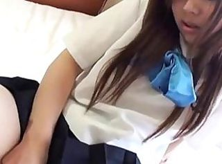 Japanese Schoolgirl has orgasm _: school uniform