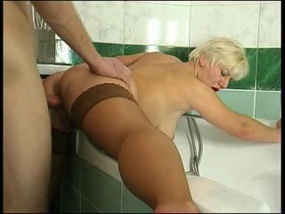 Bathroom Blonde Doggystyle Mature Mom Old and Young Stockings