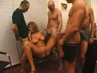Busty milf pleased in hard gangbang