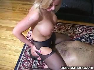 Lucky man got his tongue inside hot mistress' ass hole