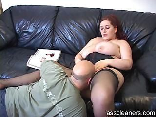 Big titted mistress lets man lick her pussy at the her ass hole
