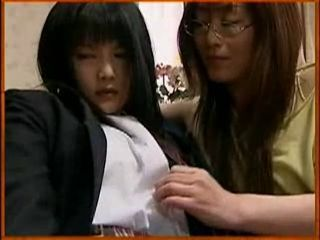 Asian Daughter Glasses Lesbian Mom Old and Young Student Teen Uniform