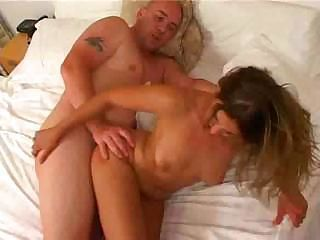 Babe sucks this older guy's cock and then lets him fuck her