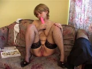 Chubby Dildo Masturbating Solo Stockings Teen Toy