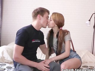 Kissing Pigtail Teen
