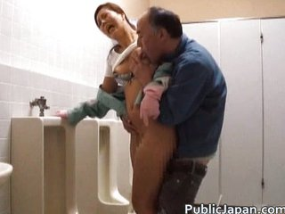Asian Daddy Forced Japanese Old and Young Public Toilet