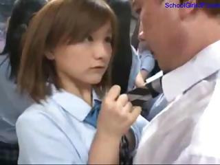 Schoolgirl Giving Handjob Fingered By Business Man On The Bus