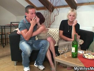 Drunk Granny Smoking Threesome
