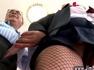 Daddy Fishnet Handjob Old and Young Student Teacher Uniform