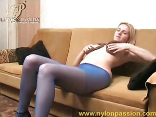 Long Legged Tease Girl In Blue Pantyhose