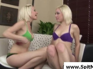 Young Lesbians Licking Their Spit