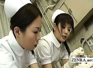 Subtitled CFNM Japanese nurses tender penis inspection
